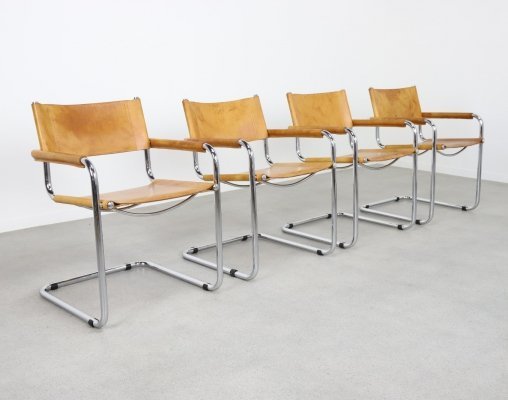 Set of 4 S34 dining chairs by Mart Stam in patinated cognac leather, 1980s/1990s