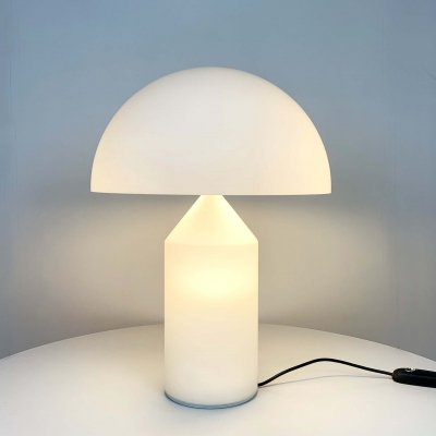 White Glass Atollo Table Lamp by Vico Magistretti for Oluce, 1960s