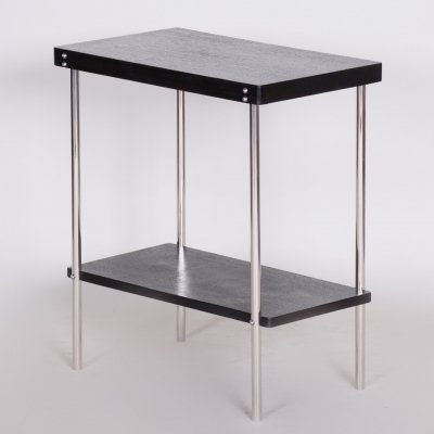 Small Czech Black Chrome Bauhaus R19 Table by Robert Slezák, 1930s