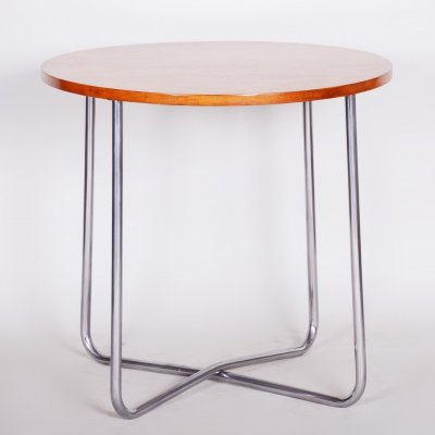 Tubular Chrome Czech Bauhaus Art Deco Beech Round Table by Vichr a spol, 1930s