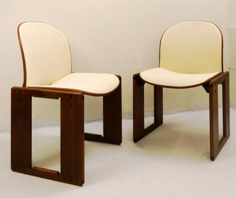 Pair of Afra And Tobia Scarpa 'Dialogo' Chairs in Walnut for B&B Italia, 1973