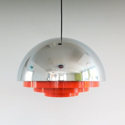 Rare large 'Milieu MAXI' pendant lamp in chrome by Jo Hammerborg for Fog & Mørup, 1970s
