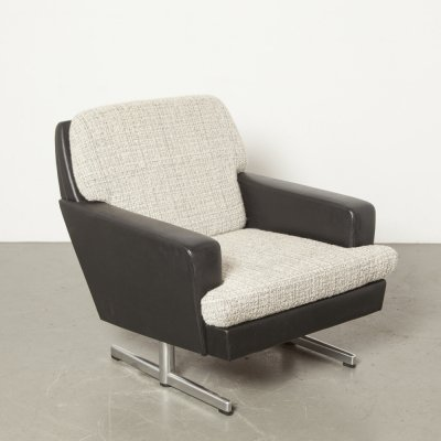 TopForm armchair in black skai with white/grey cushions, 1950s