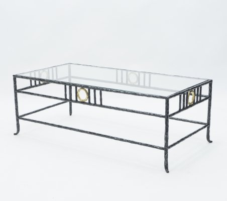 Rare signed gilded wrought iron coffee table by Garouste & Bonetti, 1995