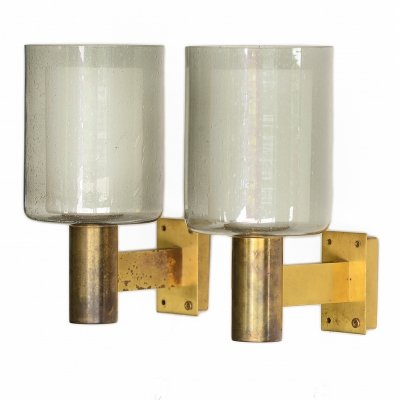 Pair of brass sconces/wall lights with glass shades from Falkenbergs belysning