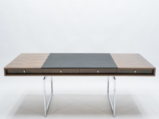 Unique Bodil Kjaer Rosewood chrome desk by E. Pedersen & Søn, Denmark 1960s