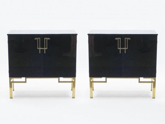 Rare pair of brass & lacquered bar cabinets by Guy Lefevre for Maison Jansen, 1970s