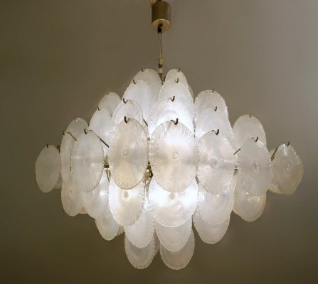 Carlo Nason Chandelier With Murano Glass Discs, 1960s