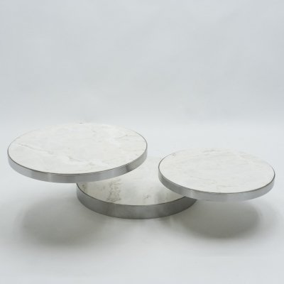 French Maison Mercier Three-tier marble swivel coffee table, 1970s
