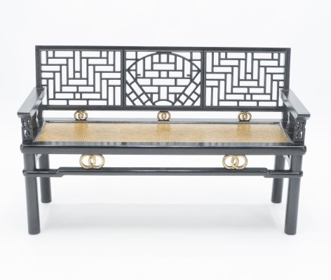 Early 20th century Chinese black lacquered bench with woven seat