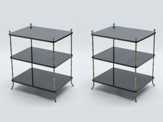 Pair of French Maison Baguès brass & black lacquer three-tier side tables, 1950s
