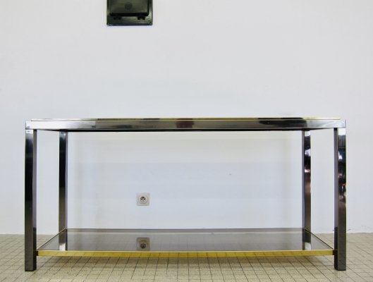 Belgo Chrom console table in brass & chrome, 1980s