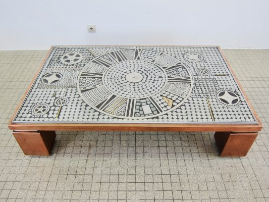 Belgo Chrom copper coffee table with brutalist metal inlay artwork, 1980s