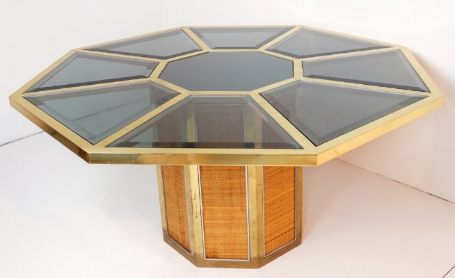 Italian Glam Octagonal Dining Table by Romeo Rega, 1970s
