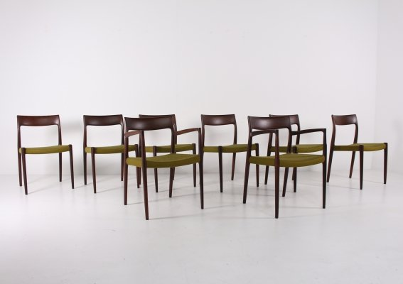 Niels Otto Moller rosewood model 57 & 77 chairs & armchairs