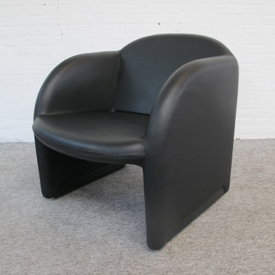 Black leather Ben lounge chair by Pierre Paulin for Artifort, 1980s
