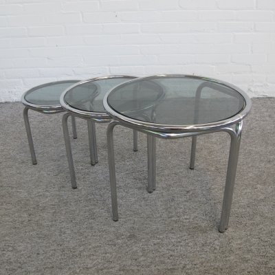 Vintage Italian style Round chrome glass nesting tables, 1970s