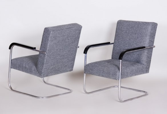 Pair of Tubular Thonet Armchairs by Anton Lorenz, 1930s