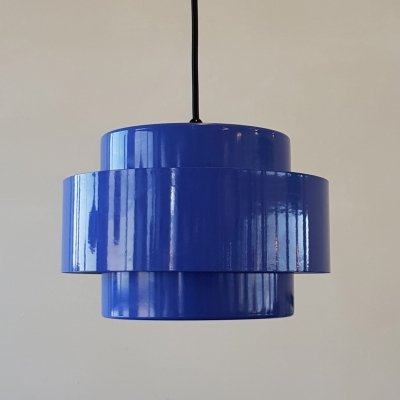 Danish blue 'Juno Rainbow Line' hanging lamp by Jo Hammerborg for Fog & Mørup, 1960s