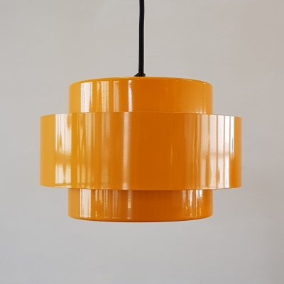Danish yellow 'Juno Rainbow Line' hanging lamp by Jo Hammerborg for Fog & Mørup, 1960s