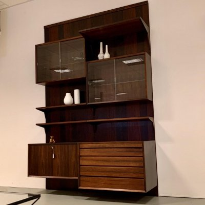 Rosewood Cadovius wall unit with storage for records, cabinets & shelves