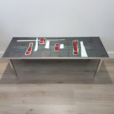 Mid-century ceramic red & grey coffee table by De Nisco