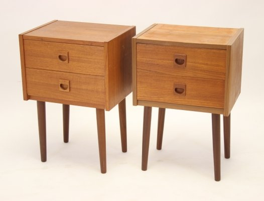 Danish Teak Night cabinets with 2 drawers