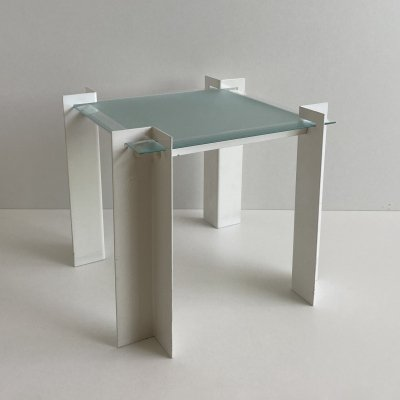 Postmodern Dutch Metal & Glass Side Table, 1980s