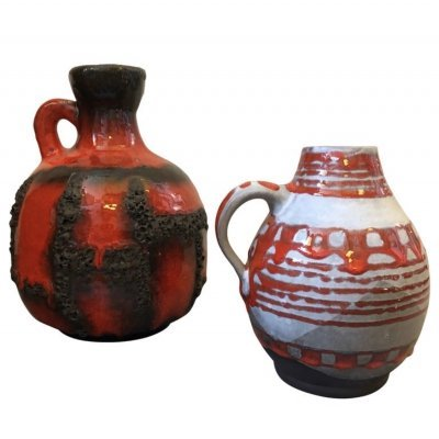 Two Ceramic Lava Jugs by Scheurich Germany, circa 1970