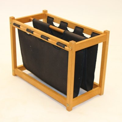Magazine Holder in Black with Beech Wood, 1970s