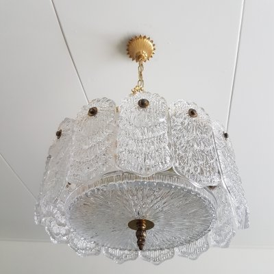 Frosen crystal glass & brass hanging lamp, 1960s