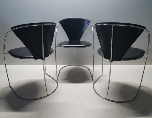 Minimalistic chrome & leather Italian dining chairs by Arrben Italy, 1980s