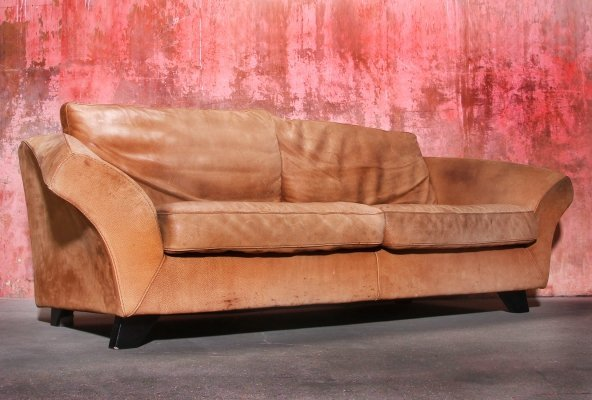 Brown Thick Roughened Neck-Leather Sofa From Gurian Italy, 1980s