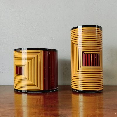 Pair of Glass Vases by Sottsass Associati for Egizia