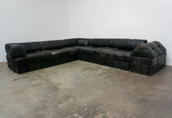 De Sede DS-88 patchwork black leather modular sofa, 1970s