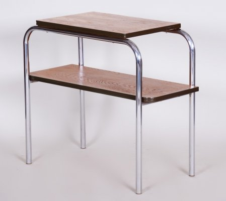 Czech Oak & Chromed Steel Bauhaus Side-Table by Hynek Gottwald, 1930s