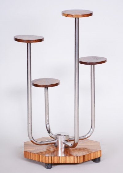 Czech Brown Bauhaus Zebrano Wood & Chrome Flower Stand by Mücke - Melder, 1930s