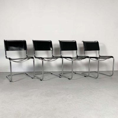 Set of 4 B33 Chairs in Leather by Marcel Breuer for Thonet, 1930s