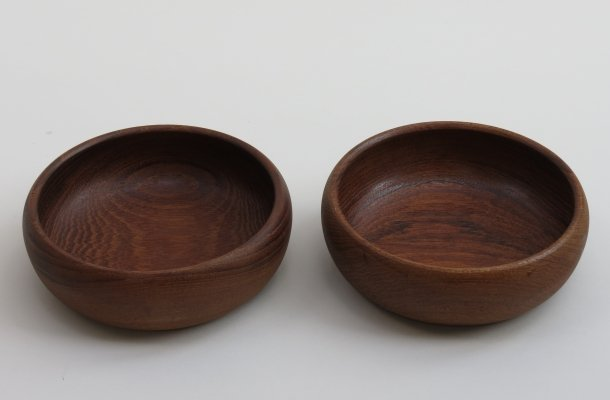 Pair of hand crafted Galatix teak bowls, 1970s