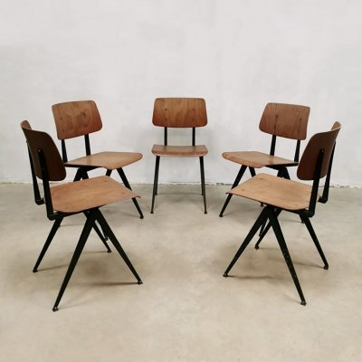 Vintage industrial model S16 stacking school chairs by Galvanitas