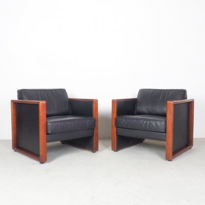 2 vintage Walter Knoll leather lounge chairs, 1970's