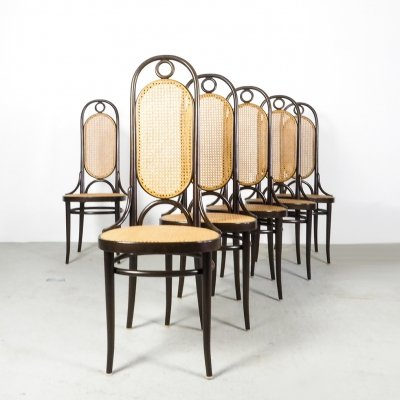 Set of 6 Thonet high dining chairs model 207R