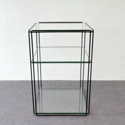 Isocele metal & glass side table by Max Sauze, France 1970's