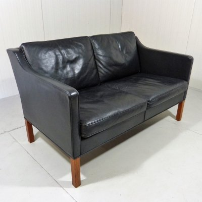 Black leather sofa by Børge Mogensen for Fredericia, Denmark 1970s