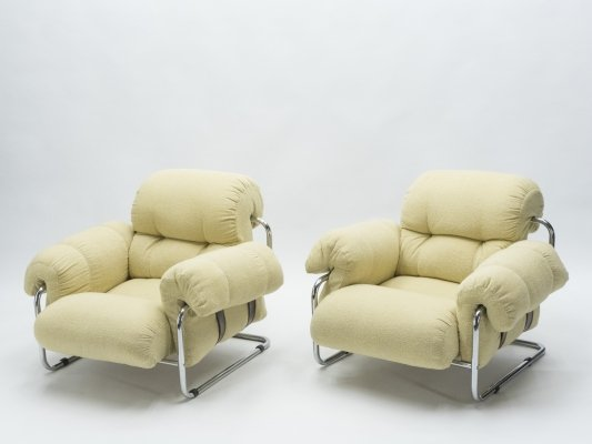 Rare Pair of Italian 'Tucroma' armchairs by Guido Faleschini for Mariani, 1970s