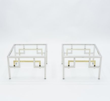 Mid-century Brass chrome side tables by Guy Lefevre for Maison Jansen, 1970s
