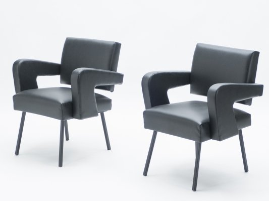 Pair of Jacques Adnet 'President' leatherette armchairs, 1959