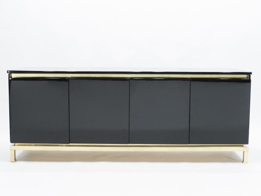 French Guy Lefevre for Maison Jansen Brass & Black Lacquered Sideboard, 1970s