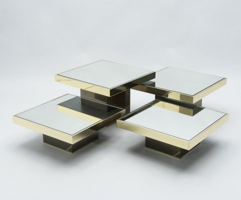 Set of 4 Willy Rizzo Brass Mirrored Coffee Tables, 1970s