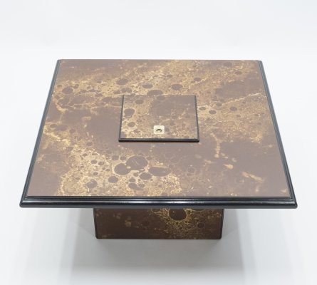 Rare Golden Lacquer & Brass Maison Jansen Bar Coffee Table, 1970s